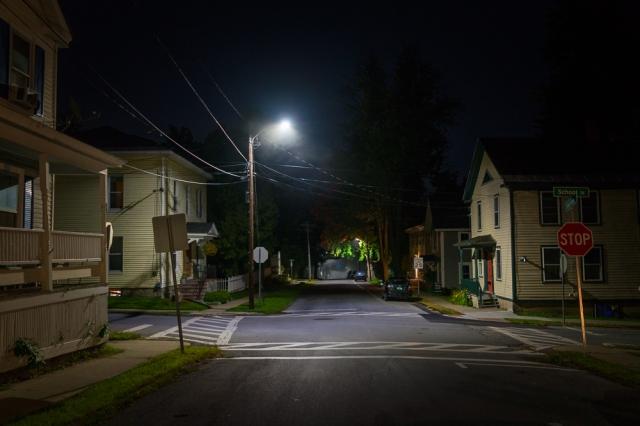 Houses at Night, Vergennes Vermont-